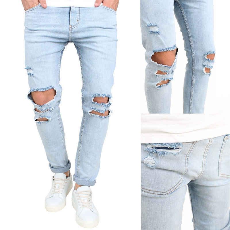 Мужские джинсы стрейч рваные Модные ботильоны на молнии обтягивающие джинсы для мужчин потертые прямые джинсы подходят джинсовые брюки