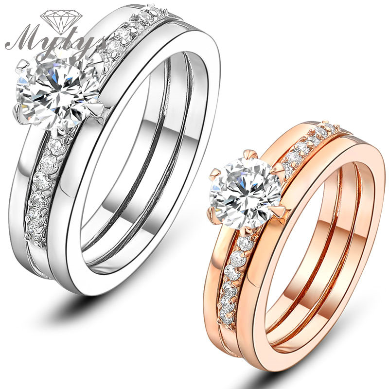 ᐂMytys Two in One ring set Bridal Set Wedding Couple Band Rings ...