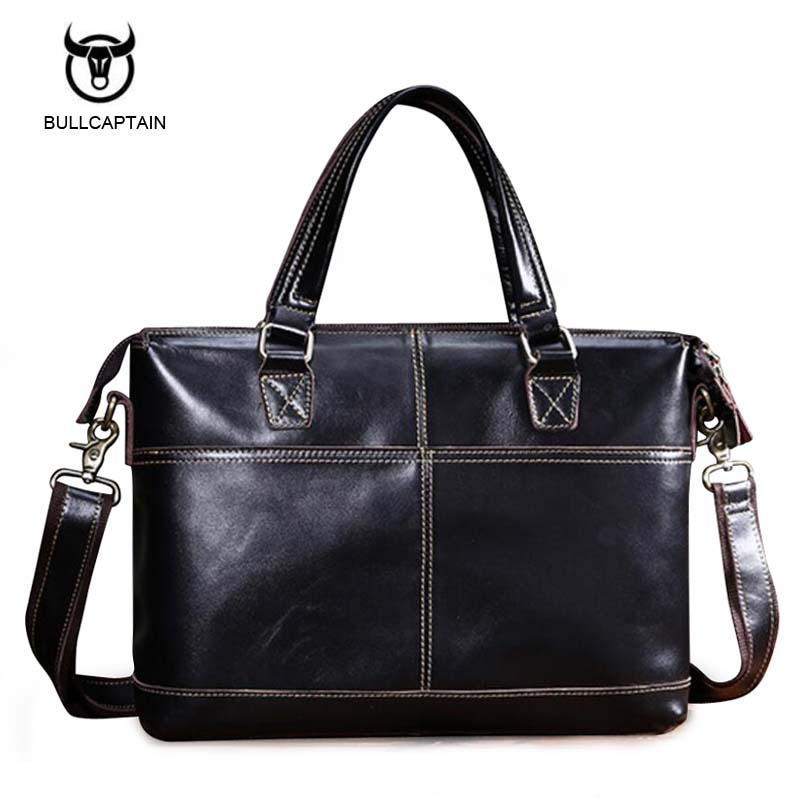 Bullcaptain Genuine Leather Men Bags Fashion Man Crossbody Shoulder Handbag Men Messenger Bags Male Briefcase Men's Travel Bag xiyuan genuine leather handbag men messenger bags male briefcase handbags man laptop bags portfolio shoulder crossbody bag brown
