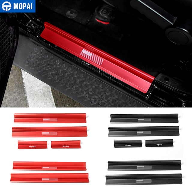 MOPAI New Style USA Flag Logo Skull Door Sill Scuff Plate Protector Welcome Pedal for Jeep Wrangler JK 2007 2016 Car Styling