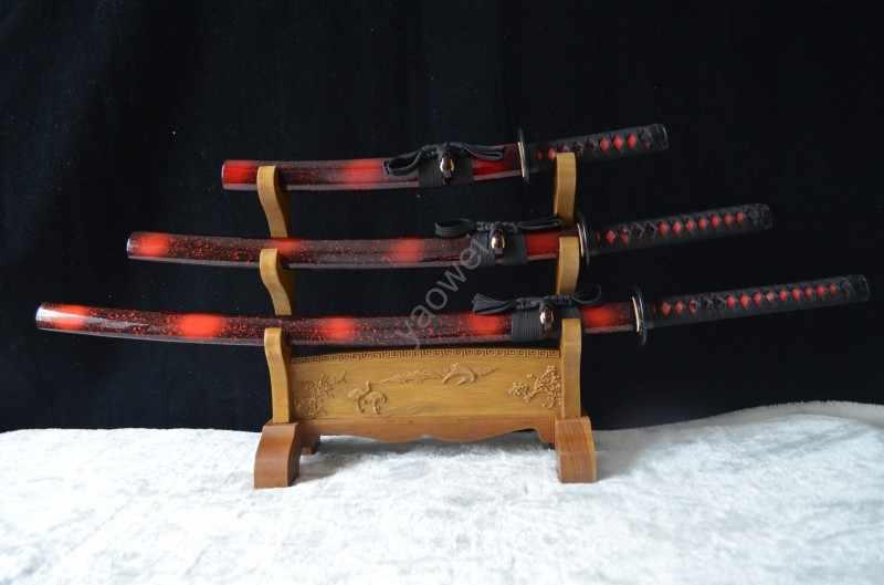 עבודת יד סמוראי יפני חרבות סט קטאנה אקיזאשי Tanto מלא טאנג אדום להב 1095 גבוהה פחמן פלדה Katanas Custom מכירה חד