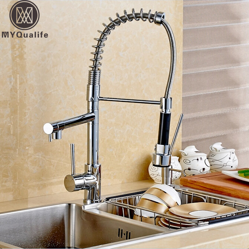 Classic Double Swivel Spout Spring Kitchen Sink Faucet Single Handle Hot and Cold Pull Down Spring