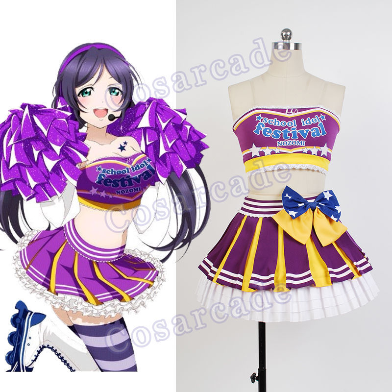 عشق زندگی! Lovelive Cheerleader Nozomi Tojo Cosplay Costume Halloween Halloween Uniform School Idol Project Cheer لباس مجلسی زنانه کامل
