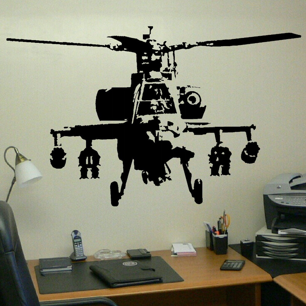 xtra large banksy helicopter wall art bedroom mural giant sticker transfer decal vinyl wall art. Black Bedroom Furniture Sets. Home Design Ideas