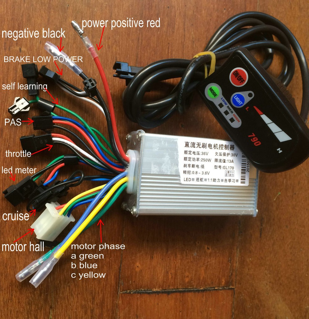24v36v48v250w 1000w Controller And Led Display For Electric Bike Scooters Razor Wiring Diagram E 150 790 250w 36v With Light 6 Mosfet