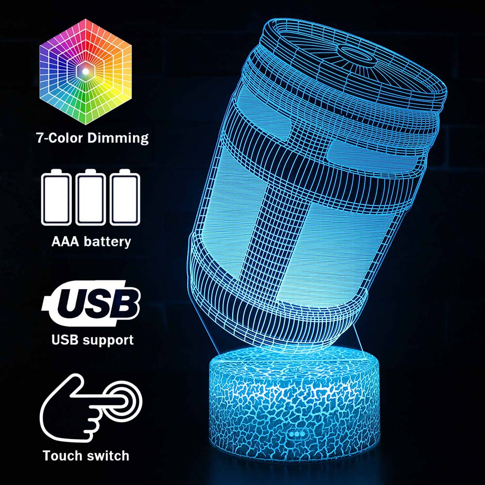 Magiclux Novelty Lighting 3D Illusion LED Lamp Fortress Night Energy Drink Design Night Lights For Kids Bedroom Decoration