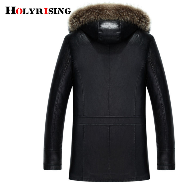 HOlyrising Winter PU Jackets Leather Coat Men's Fur Hooded Faux Leather Jackets Thicken men winter coat Plus Size 3XL 4XL 18296