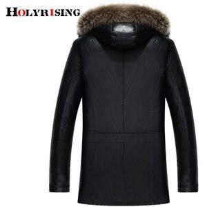 Image 2 - Holyrising inverno plutônio jaquetas de couro casaco de pele masculina com capuz falso jaquetas de couro engrossar casaco de inverno dos homens mais tamanho 3xl 4xl 18296