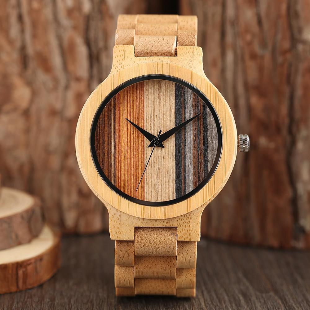 Male Trendy Nature Bamboo Wood Simple Quartz Analog Wrist Watch Men Gift Full Wooden Fold Clasp Bangle Watches Luxury