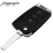 Jingyuqin-coque de clé pliante, boîtier de clé télécommande sans clé, pour VW Golf 7 GTI MK7, Skoda Octavia A7