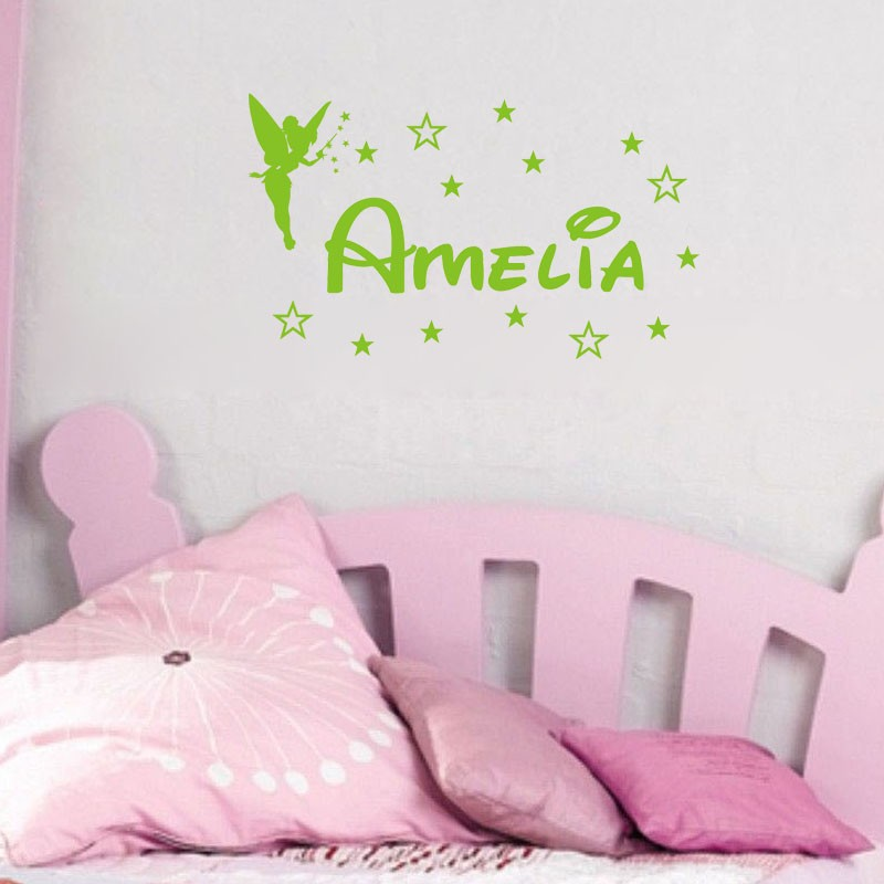Personalized Airplane Name Clouds Decal Nursery Decor 9 Tinkerbell Fairies Kids Room Vinyl Wall
