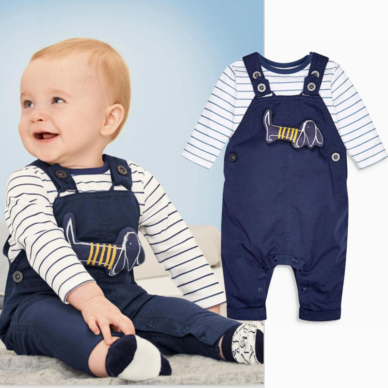 KIDS TALES 2017 High quality Baby boy spring summer new baby boy navy blue dog blue dog applique trousers suit