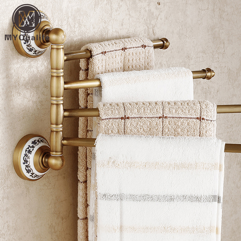 Wholesale and Retail Antique Barss Bathroom Flexible Towel Bar Wall Mounted Towel Shelf Hooks retail aluminium towel bar