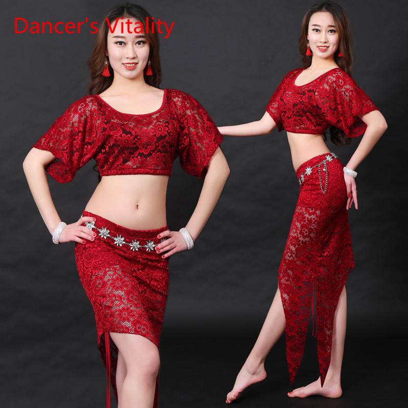 Dancer's Vitality New Brand Belly Dance Costume 4 Colors Embroidery Set Irregular Skirt Oriental Dance Costumes For Tribal Dress