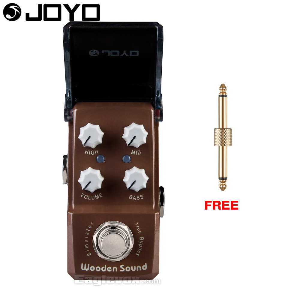 Joyo Ironman Wooden Sound Acoustic Simulator Guitar Pedal True Bypass JF-323 with Free Connector mooer ensemble queen bass chorus effect pedal mini guitar effects true bypass with free connector and footswitch topper