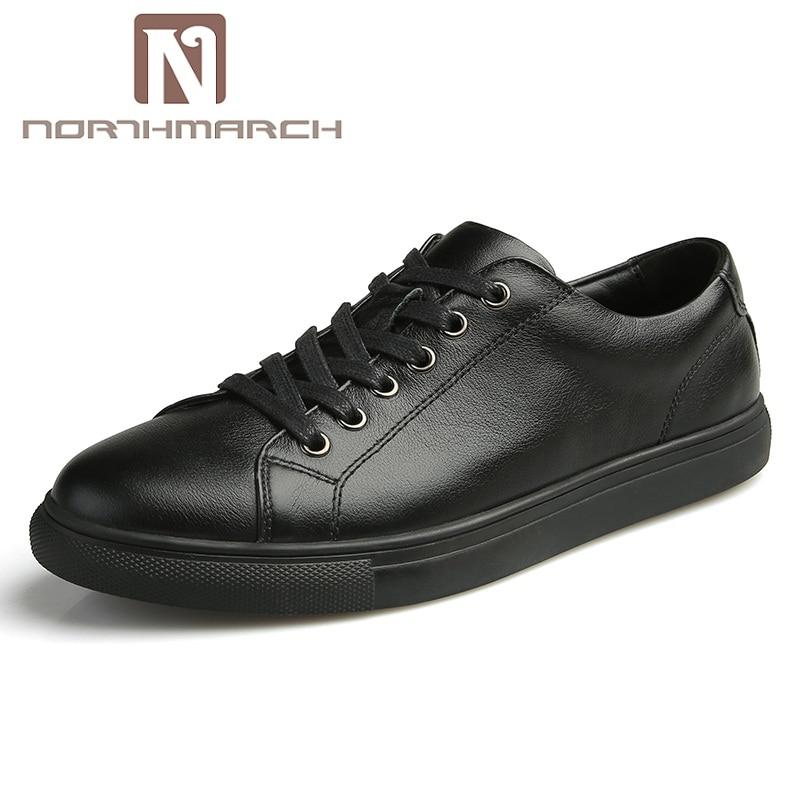 Homme Hombres Genuino Moda Lujo Negro blanco Hombre Casuales De Holgazanes Cuero Northmarch Zapatillas Calzado Chaussures Zapatos TS5qw7Sx