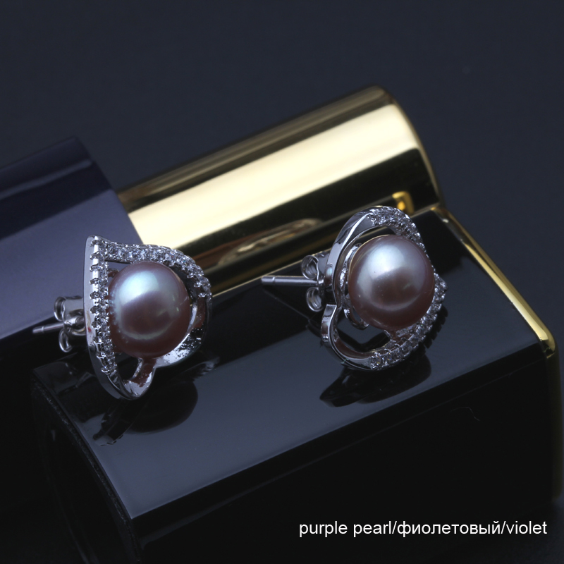 Real natural stud pearl earrings 925 sterling silver earrings jewelry for women black freshwater pearl earrings fine jewelry in Earrings from Jewelry Accessories