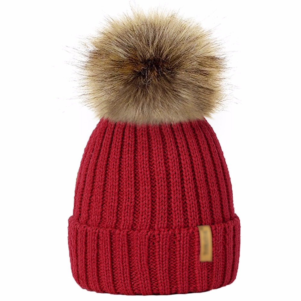 9 Colors Parents Kids Knitted   Beanie   Hat Winter Warm Faux Fur Pom Pom Women Men Caps Autumn Baby Boy Girl Unisex Hats   Skullies