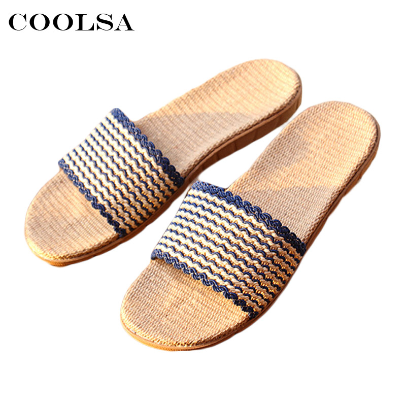 Hot New Summer Men Linen Flip Flops Hollow striped Flax Slippers Flat Bad Sandals Non Slip Unisex Indoor Man Casual Beach Shoes men s slippers beach sea leisure shoes non slip bottom of the massage indoor and outdoor take a shower sandals hot selling