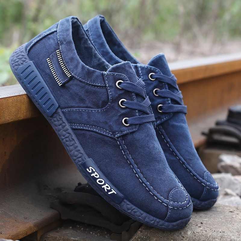 Hot Men zapatos casuales zapatos de lona para hombres mocasines de mezclilla zapatos transpirables hombres zapatillas de moda hombres zapatos para caminar calzado Masculino