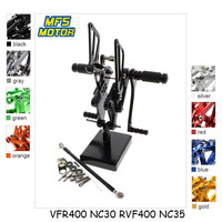 For Honda VFR400 NC30 RVF400 NC35 Motorcycle Foot Pegs CNC Adjustable Rearset Foot Rests VFR RVF 400 NC 30 35 Footrests Footpegs