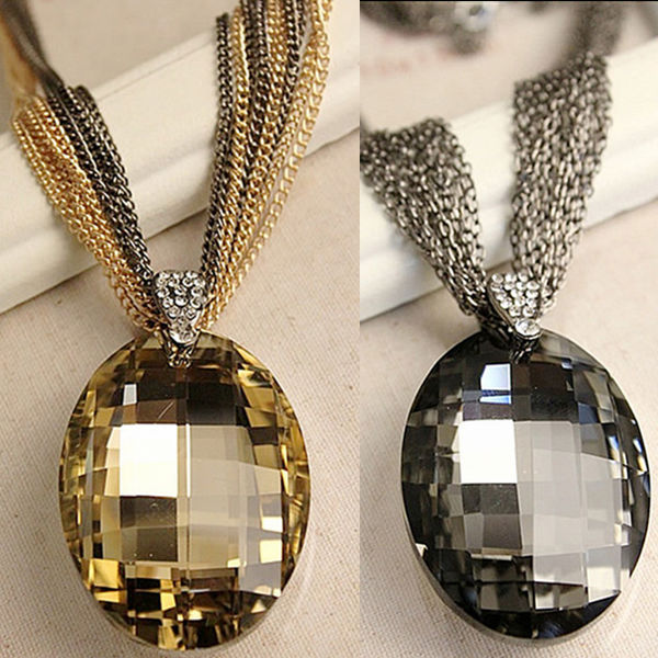 Whosale New Vintage Gold / Black Oval Glass Crystal Pendant Necklace, Charm Multi-Chain Long Chain Necklaces for Women XHP076 цена 2017