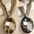 Whosale de la nueva vendimia oro / negro Oval cristal cristalinos collar, encanto Multi-Chain collares de cadena larga para para XHP076