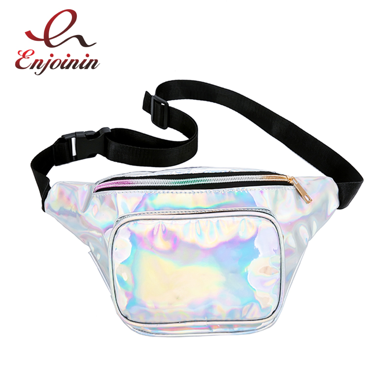 New Fashion Handbags Laser Purse Fanny Pack Multi-function Leg Trend Bag Reflective Pvc Shoulder Bag Women's Belt Waist Bag