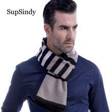 88660aecb571f SupSindy Winter scarf men Vintage Soft Striped Black scarves luxury shawl  Warm wrap Imitation cashmere Business