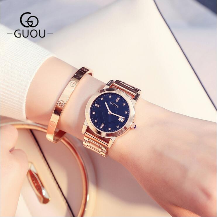 GUOU New Watch Top Luxury Women Watches Fashion Gold Watch Women Exquisite Full Steel Ladies Watches reloj saat relogio feminino contena luxury gold watch women watches fashion women s watches ladies watch saat reloj mujer relogio feminino