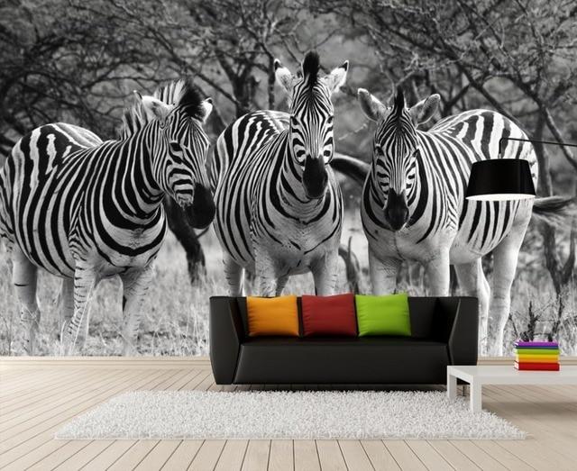 Retro Nostalgischen Schwarz und weiß Vlies 3D Fototapete zebra ...