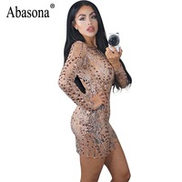 Abasona Women Party Dresses Long Sleeve Sparkle Sequin Dress Women Elegant O Neck Bodycon Pencil Dress
