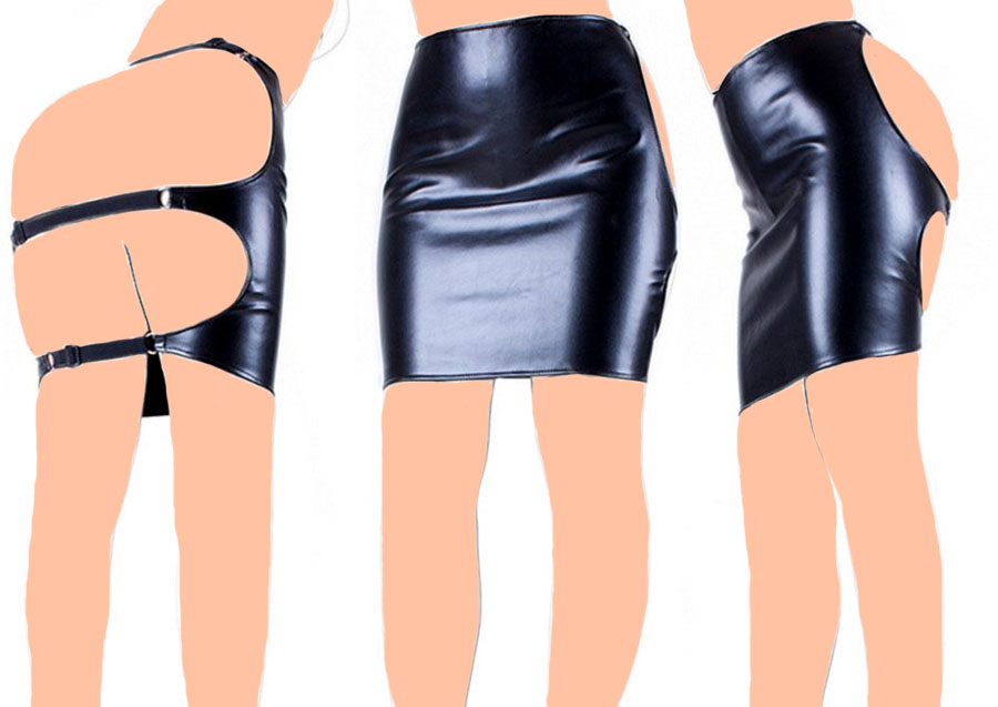 Backless Hollow Out Clubwear, Fetish Bondage Restraints Butt Exposed Package Skirt,Adult Sex Toys
