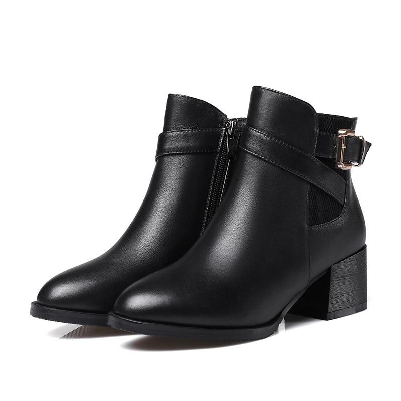 Otoño Negro Genuino Cremallera De Con Hebilla Cinturón Botas Zapatos Europeo Mujer Cuero Tacón Estilo Grueso Moto Black Moda wtPvIqn4