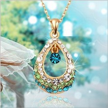 2017 New Hot Fashion Fine Jewelry 4 Colors Dazzling Super Gold Color Crystal Angel Teardrop Necklaces & Pendants For Women N-94