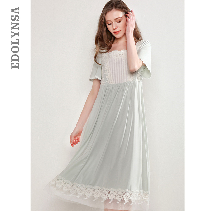 Bathrobe Female Cotton Sleepwear Chemise Honeymoon Nightdress Women Nightwear Home Dress Victorian Style Indoor Clothing T466
