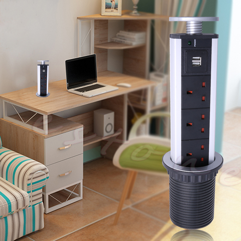 1pc AU/EU/US Plug Electrical Power Outlet <font><b>Kitchen</b></font> Worktop Desk Pull Pop <font><b>Up</b></font> Socket Multi-functional