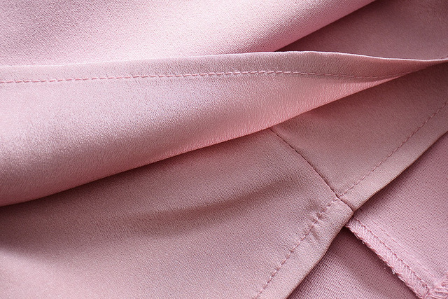 Women Dress 2018 High Quality Designer Runway O-Neck Long Sleeve Pink Solid Elegant Work Dresses NPD0890