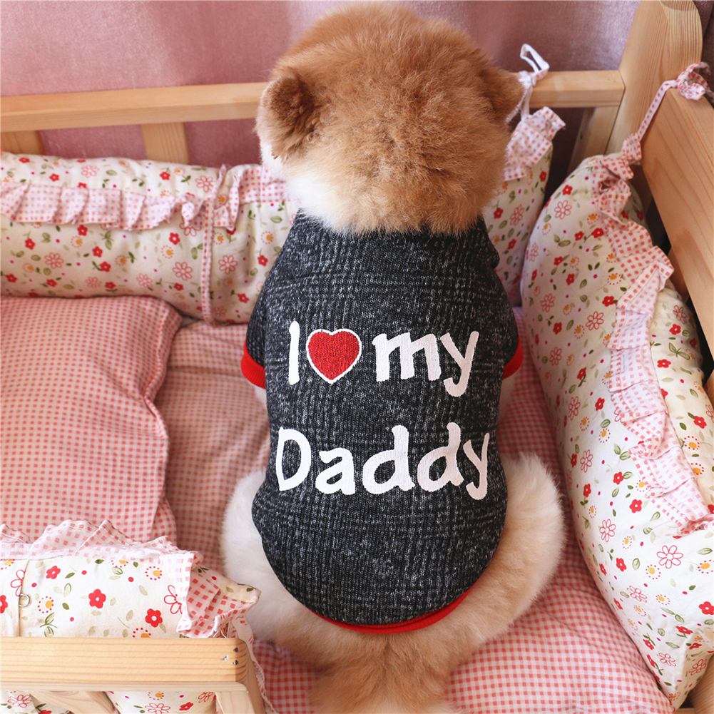 Fashion Love Daddy Mommy Cotton Puppy Dog T-Shirt Raglan Pullover Pet Clothes