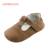 COPODENIEVE New Hot Sale Solid Genuine Leather Girl Boys Handmade Toddler Hard Sole First Walkers Baby