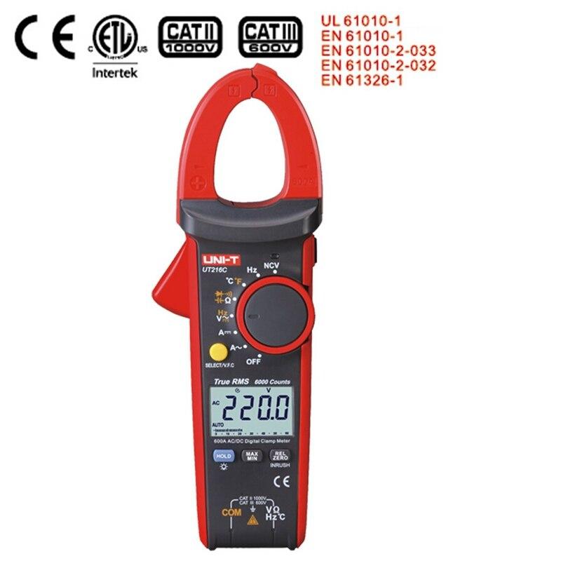 New Uni T Ut216c 600a True Rms Digital Clamp Meters Auto Range W Frequency Capacitance Temperature