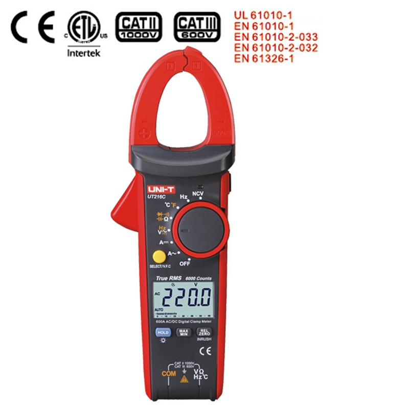 New Uni T Ut216c 600a True Rms Digital Clamp Meters Auto Range W Frequency Capacitance Temperature & Ncv Test Megohmmeter uni t ut70b lcd digital multimeter auto range frequency conductance logic test transistor temperature analog display