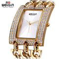 WEIQIN Woman Rhinestone Square Dial Watches Womens Ladies Chain Bracelet Wristwatches Female Gold Bangle Watch relogios feminino