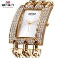 Weiqin mulher Rhinestone praça Dial relógios das mulheres das senhoras cadeia Bracelet relógios de pulso feminino pulseira de ouro relógio relogios feminino