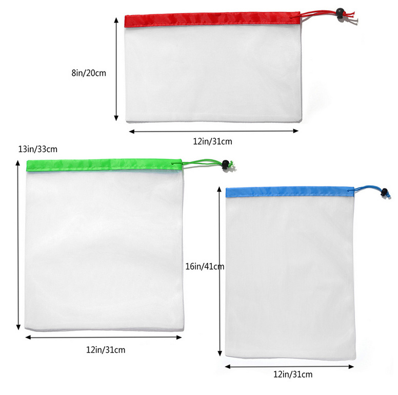 Image 2 - Reusable Mesh Produce Bag Eco Friendly Washable Bags For Grocery Shopping Fruit Vegetable Toys Storage Bags-in Bags & Baskets from Home & Garden