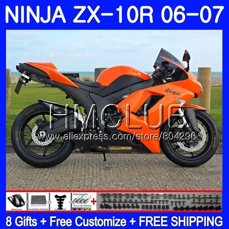 Orange Black Bodywork For Kawasaki Ninja Zx1000c Zx10r 06 07 23hm4