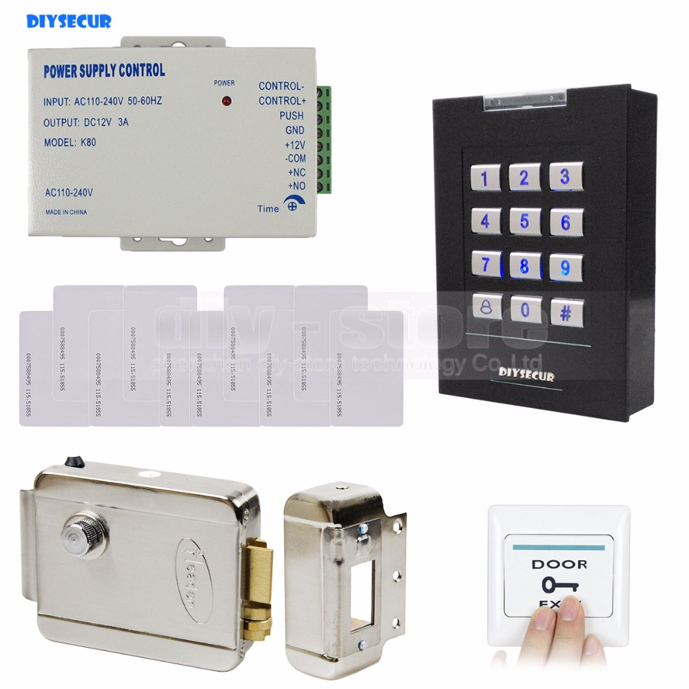 DIYSECUR RFID 125KHz ID Card Reader Keypad Access Control System Kit + Electronic Lock + Power Supply +10 ID Cards waterproof touch keypad card reader for rfid access control system card reader with wg26 for home security f1688a