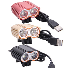 USB Rechargeable MTB Bike Light Double LED Like Cute Robot Eyes Waterproof Bicycle Head Lights Front Lamp 8000LM 2x XM-L T6