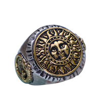 Real 925 Sterling Silver Jewelry Gothic Rings For Men Unique And Cool Sun Flowers With Smiling