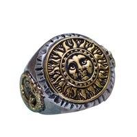 Reale 925 Sterling Silver Jewelry Gotico Anelli Per Gli Uomini Unico E Fresco Sole Fiori Con La Faccia Sorridente Tipo di Apertura